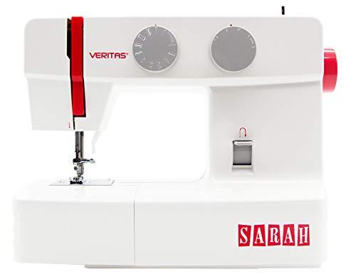 VERITAS 1301Sarah Máquina de Coser, plástico/Metal, Blanco/Rojo, 37,0x 16.0x 29,5cm
