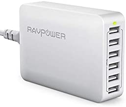 USB Charger RAVPower 60W 12A 6-Port Desktop USB Charging Station with iSmart Multiple Port, Compatible iPhone 11 Pro Max XS Max XR X 8 Plus, Ipad Pro Air Mini, Galaxy S9 Edge, Tablet and More (White)