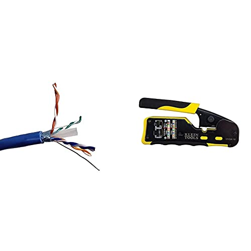 MICRO CONNECTORS 500ft Solid Shielded (STP) CAT6 Bulk Ethernet Cable - Blue (TR4-560SHBL-500) & Klein Tools VDV226-110 Wire Crimper/Wire Cutter/Wire Stripper Pass-Thru Modular All-in-One Tool