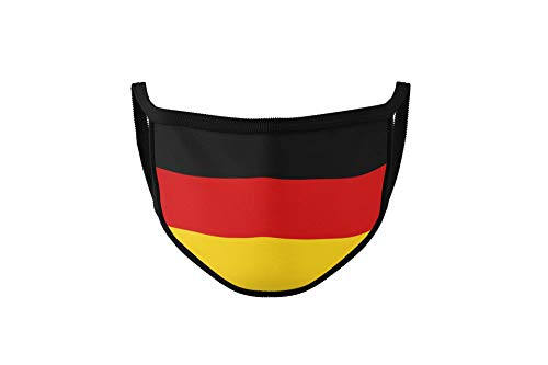 Maske mit Länderflagge aus Baumwolle waschbar, wiederverwendbar - Gesichtsmaske für Erwachsene, Damen und Herren mit Land (Deutschland)