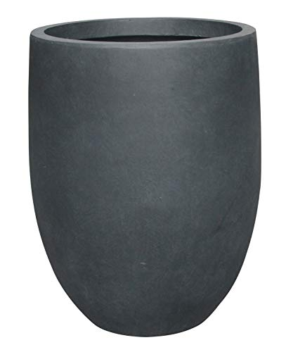 Kante RC0066A-C60121 Lightweight Concrete Outdoor Round Tall Planter, Charcoal