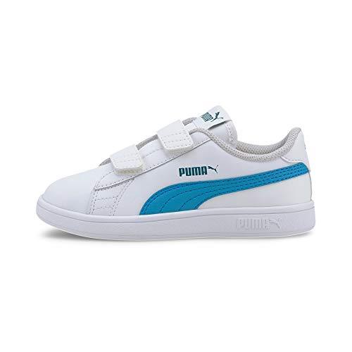 PUMA Smash V2 L V Ps Sneaker, White-Dresden Blue, 33 EU