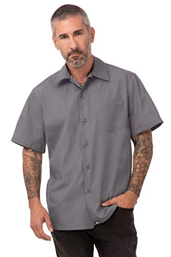Chef Works Button Down Shirt voor dames, Large, grijs, 1