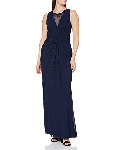 Mascara Damen Pleated Cross Waist Kleid, Blau (Navy), DE 38 (ES 40)