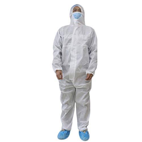 LYAID Einweg-Schutzanzug, elastischer Schutzanzug für Handgelenk und Kapuze, Antibeschlag-Schutzkleid für Männer, Frauen, Anzug für 160 bis 180 cm, werkseitiger Outdoor-Sicherheitsanzug,L