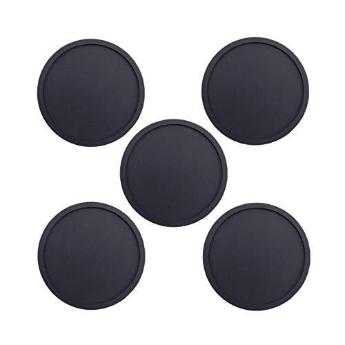 SEOLQX Juego de posavasos de silicona de 1/5/8 unidades, reutilizables, resistentes al calor, redondos, para vino, cerveza, cocina, posavasos, 5 unidades, color negro, redondo, de 1/5/8 unidades