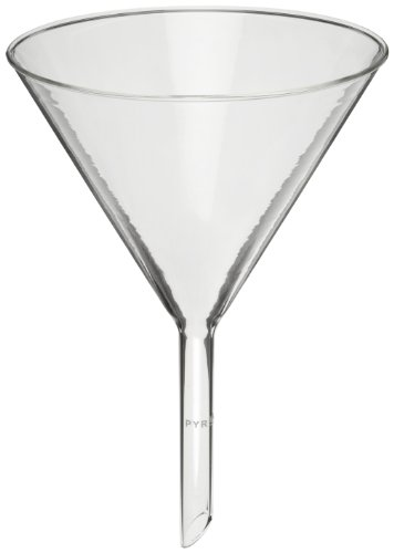 Corning Pyrex Borosilicate Glass Plain 60 degree Angle Filtering Funnel with Short Wide Stem, 122mm Top I.D (Case of 12)