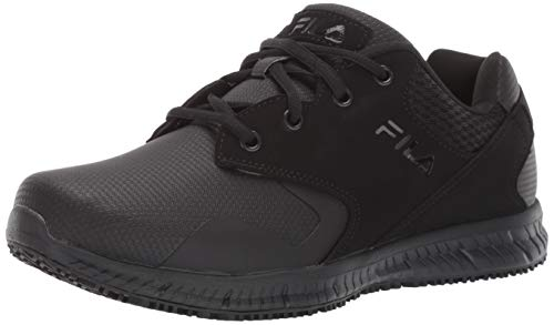 Fila Men's Memory Layers Slip Resistant Work Shoe Food Service, Black, 9.5