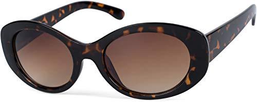 styleBREAKER Damen Butterfly Sonnenbrille mit breitem Kunststoff Rahmen und ovalen Polycarbonat Gläsern, Schmetterling, Retro Style 09020109, Farbe:Gestell Braun Demi/Glas Braun Verlauf