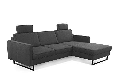 CAVADORE Ecksofa Stronda / Skandinavisches L-Form Sofa mit Longchair und Kopfstützen / 251 x 84 x 170 / Flachgewebe, Dunkelgrau