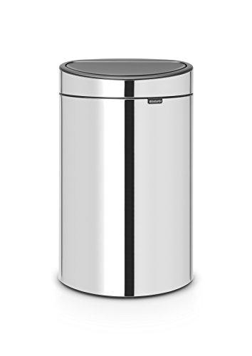 Brabantia Poubelle Touch Bin, 40 litres, Acier Brillant, Capacité 40 Litres, 72,7 cm x 43,5 cm x 30,2 cm