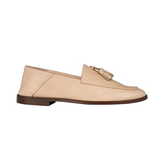 MZ MADE FOR PETITE – Mocasines con pompón de piel de vaca italiana – Zapatos pequeños, Beige (beige), 37 EU