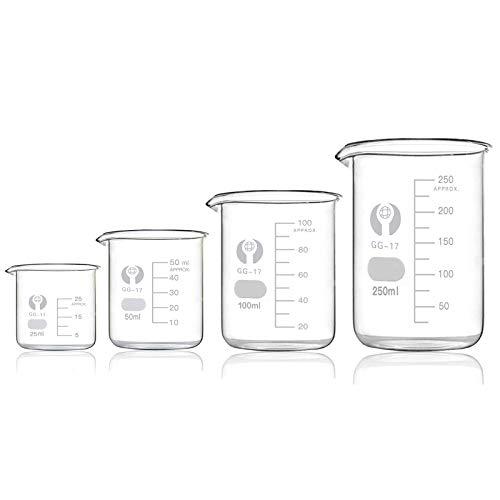 Bechergläser Set Meßbecher 25ml 50ml 100ml 250ml Borosilikatglas Becherglas für Labor Meßbecher