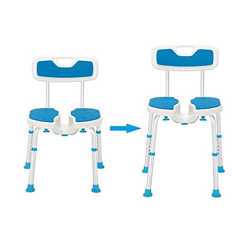 Silla de baño Hueca elevadora de aleación de Aluminio de 6 velocidades/Taburete de PE/Cojín de Goma para los pies/con Respaldo Silla de Ducha Azul y Blanca