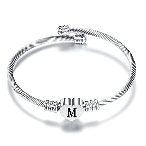 Pulseras de corazón con letras iniciales para mujer, acero inoxidable AZ, 26 letras, brazalete de joyería, brazaletes, color plateado, M