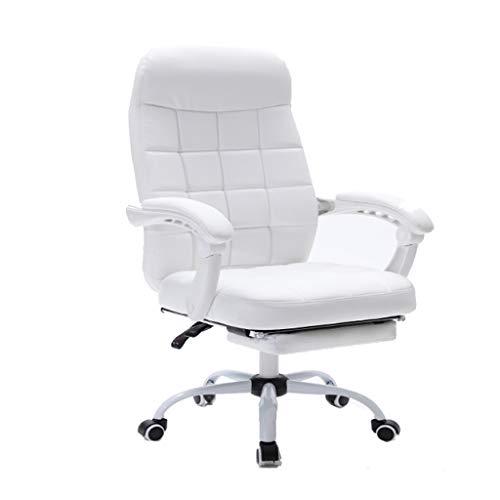 DFLY Silla Gaming Barata sillas Oficina Blanca, Silla giratoria ergonómica de Cuero para el hogar con reposapiés, cómoda Altura Ajustable Escritorio Estudio sillas de la computad