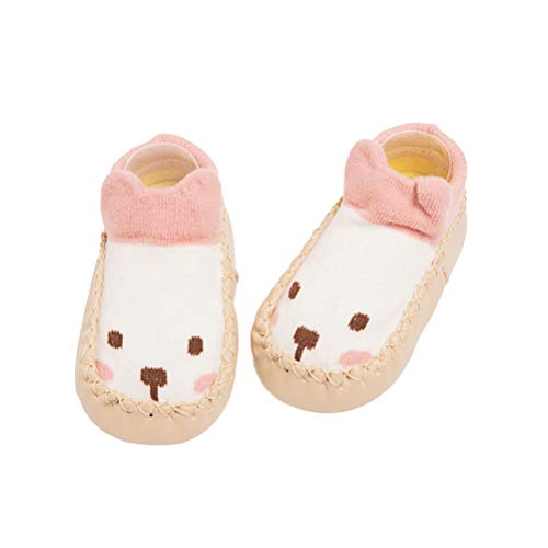 FENICAL Bebé Calzado Calzado Calcetines Recién Nacido Calcetines de Dibujos Animados Calcetines de Piso Suela de Cuero Antideslizante Toalla Gruesa Calcetines de Regalo para Niños 11 cm
