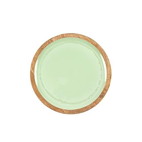 THE CHEF COLLECTION – Plato llano redondo de madera con esmalte en colores, Colección Nature Color, hecho a mano, Ø30,5x2,5 cm (Verde)