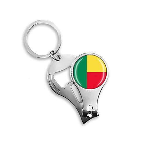 Benin-Flagge Bierflaschenöffner, Nagelknipser, Metall, Glas, Kristall, Schlüsselanhänger, Reise-Souvenir, Geschenk, Schlüsselanhänger Zubehör