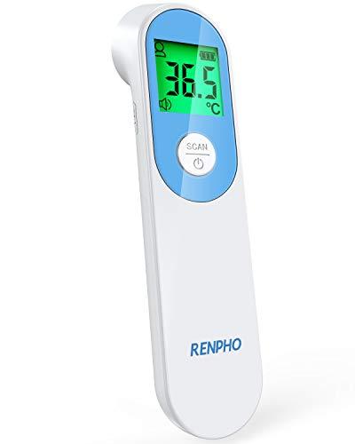 Termómetro frontal de infrarrojos sin contacto RENPHO, Termómetro con pantalla retroiluminada tricolor, Modos de medición para personas y objetos, Válido para su uso en adultos, bebés y ancian