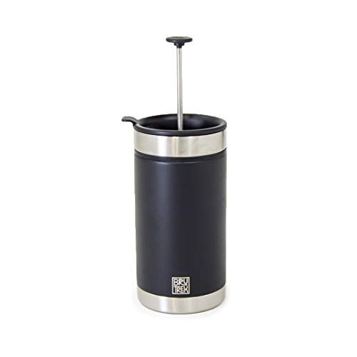 BruTrek Steel Toe French Press Coffee Travel Mug - Bru-Stop Technology No Grinds in Coffee, Obsidian Black, 20 oz Stainless Steel with Non-Slip Texture Cup