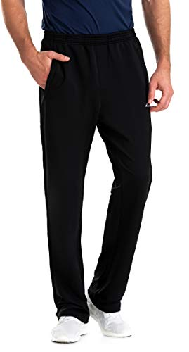 Clothin Men's Sweatpant with Zipper Pockets Elastic Waist Drawstring Pants for Athletic Jogging Running(Black M)