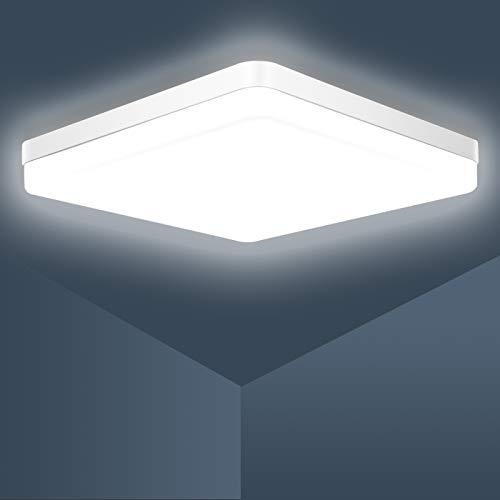 Plafón Led,Ouyulong Lámpara De Techo LED Cuadrada 36W, 23cm 3240LM 6500K Plafon De Techo Led Luz Fría, Luces de Techo LED Cuadradas Modernas, Para baño Cocina Sala de estar Pasillo Balcón Dormitorio