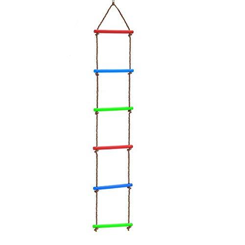 AMBH Escalera de cuerda para niños Ninja Warrior Obstáculo Curso Accesorios Ninja Slackline Escalera para parque infantil Ninja Obstáculo Swing Cuerda Escalera