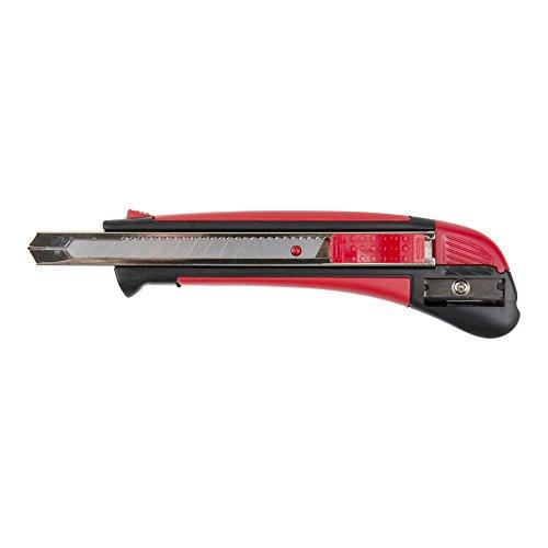 STIER Cutter Messer 9mm breit mit Bleistiftanspitzer zum Schneiden von Karton, Teppich & PVC, Kuttermesser, Klingenmesser, Teppichmesser, Kartonmesser