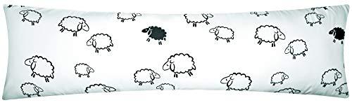 Heubergshop Mako-Satin Seitenschläferkissen Bezug 40x145cm - Süße Schafe Lämmer in Weiß/Schwarz - Öko-Tex, 100% Baumwolle, Stillkissenbezug Bezug (099/2-MS)