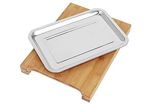 Tabla de cortar exclusiva de madera de bambú, color marrón, acabado macizo, con bandeja colectora extraíble de acero inoxidable, 34 x 24 x 4 cm, 1400 gramos