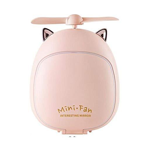 WPOS tragbarer LED-Make-up-Spiegel, kreativer Cartoon-Schminkspiegel, Lampe mit Lüfter, tragbar, USB-Ladegerät, kleiner Ventilator, Kleine Katze Rosa, CHINA