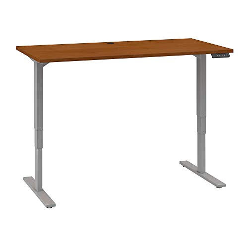 Move 80 Series by Bush Business Furniture 60W x 30D Height Adjustable Standing Desk in Natural Cherry with Cool Gray Metallic Base