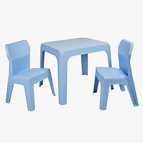 RESOL Set Jan Mesa Infantil con Sillas   2 Sillas Niños y Mesa de Plástico   Apilables y de Muy Fácil Limpieza y Mantenimiento   Azul Cielo Mesa + 2 Sillas