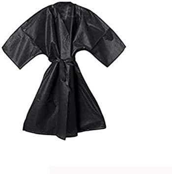 Kimono desechable de TNT negro - Bata estética con bolsillo y cinta desechable para peluquería - Ideal para el trabajo - Ideal para la higiene - 10 unidades