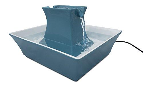 PetSafe Drinkwell Trinkbrunnen Pagoda, Filtert Wasser für Hunde und Katzen, Keramik, 2 Liter Fassungsvermögen, Blau