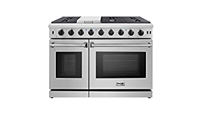 """Thor Kitchen 48"""" Freestanding Professional Gas Range with 6 Burners Cooktop, 1 Griddle and 6.8 cu.ft Oven - Stainless Steel -With LP Conversion Kit- LRG4807U"""