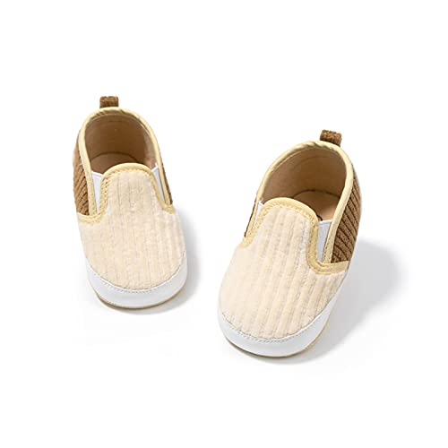 FURONGWANG6777BB Baby Girls Boys Crib Crib Zapatos Niño Algodón Soft-Sole Plano Sin resbalón Infantil Primeros Caminantes (Color : Khaki, Size : 0-6 Months)