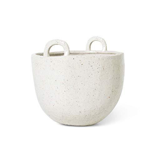 Ferm Living Living 100548202 - Vaso piccolo per piante, in grès smaltato, diametro 18,5 cm, altezza 19 cm, 18,5 x 19 cm