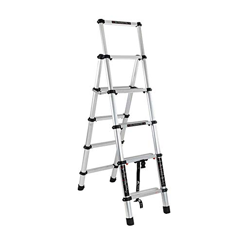 Folding Ladder Household Multifunctional Folding Ladder Aluminum Shrinking Engineering Ladder is Convenient to Carry Step Ladder for Household (Color : Silver, Size : 1.8m+1.8m)