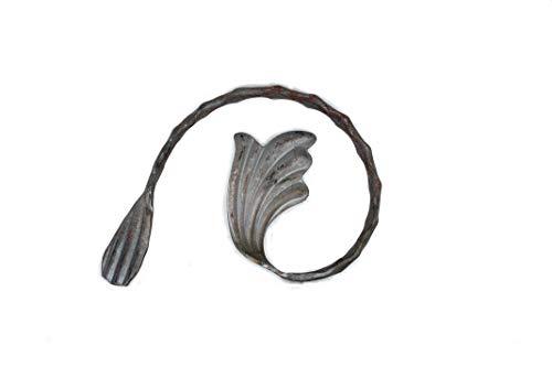 UHRIG ® Schnörkel schmiedeeisen Zierelement Laub Rose aus Stahl geschmiedet gehämmert Eisen für Zaun Geländer (H: 150mm x L: 100mm, aus 12x6mm)