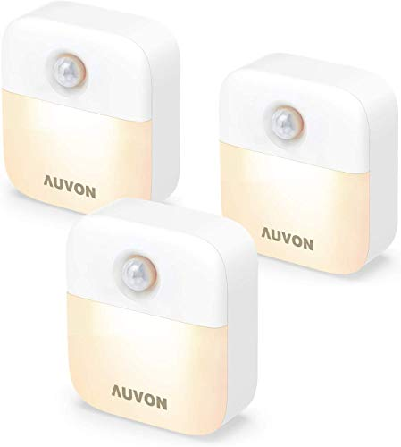 AUVON Stick-On Motion Sensor Night Light, Battery Powered LED Nightlight with Adjustable Brightness and Dusk-to-Dawn Sensor for Bedroom, Bathroom, Kitchen, Hallway, Stairs, Hallway (3 Pack)