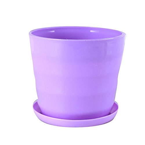 Monbedos - Set di 2 piccoli vasi da fiori colorati in resina per la casa e l'ufficio Lilla