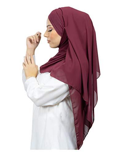Lamis Hijab - Pañuelo cruzado con gorro integrado para mujer musulmana, velada,...