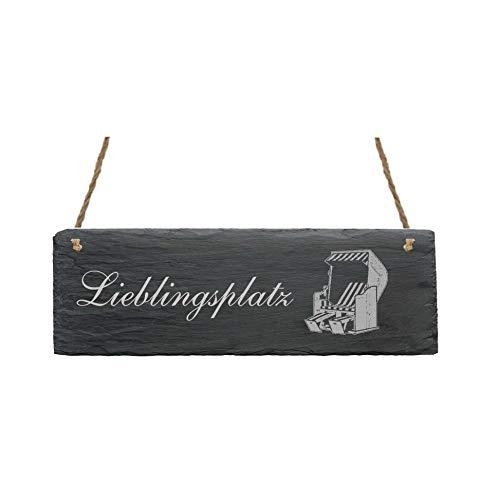 Schiefertafel LIEBLINGSPLATZ mit Strandkorb Motiv - 22 x 8 cm