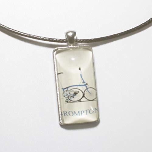 LONDON CRAFTWORK Unisex Halskette Schmuck mit Brompton Klapprad Logo Blau