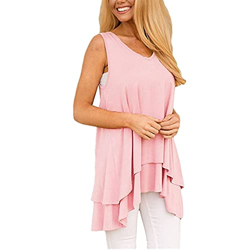 Camiseta Sin Mangas Mujer Elegante Cómodo Verano Cuello V Color Sólido Mujer Blusa Unico Dobladillo Irregular Diseño Diario Casual Transpirable All-Match Sin Mangas Mujer Tops B-Pink M