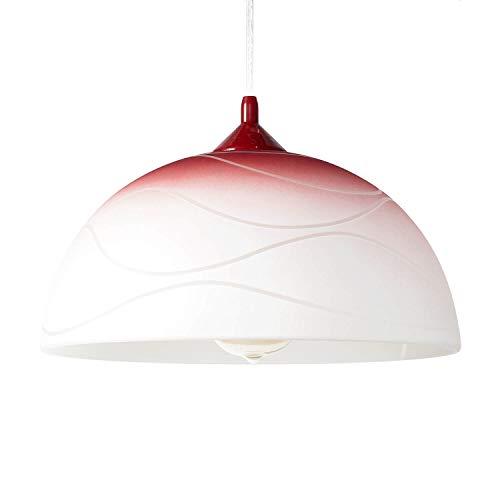 Rote Hängelampe Retro Design Glas Schirm Ø30cm Farbverlauf knallig ADANIA Küchenleuchte Esszimmerlampe
