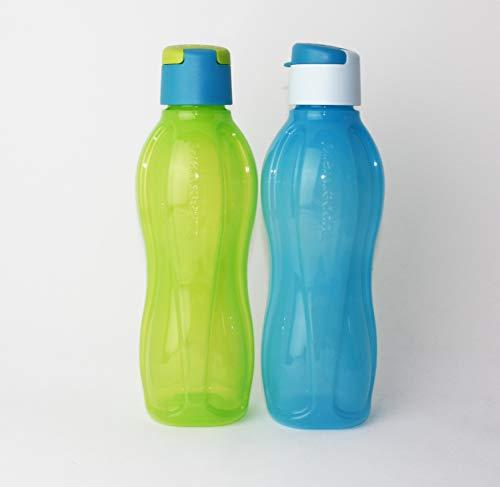 Tupperware EcoEasy Trinkflasche to Go 2X 750ml Blau/Hellblau + Grün/Türkis + Geschenk Hängelöffel Petrol