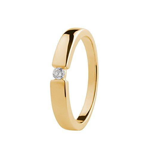 Ardeo Aurum Damenring aus 375 Gold Gelbgold mit 0,07 ct Diamant Brillant Spannfasssung Verlobungsring Solitär
